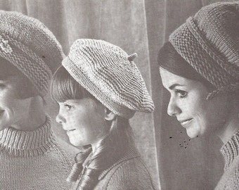 Vintage Knitted  Pattern, Ladies' & Child's Beret, Hat, Cap   knitted  PDF  pattern