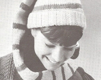 INSTANT DOWNLOAD, Vintage Knitting  Pattern, Youth/Adult Long Stocking Cap Pattern  PDF  pattern