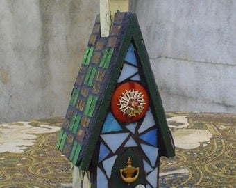 Stained Glass and Vintage Button Mosaic Birdhouse with Steeple and Matching Mosaic Mini Birdhouse Multi Media Medium