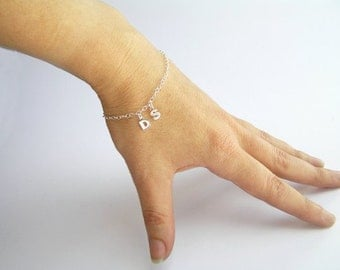 Sterling Silver Initials Bracelet - Letters Bracelet - Personalized Jewelry - Charm Bracelet