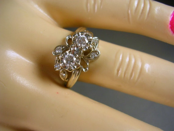 RESERVED K - 1940s Diamond Ring .50Ctw Double Diamonds  in Illusion Heads with Accent Diamonds 14K WG Size 6.75 3.3gm