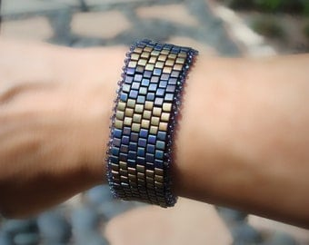 Custom Order: Gorgeous Bronze, Cerulean and Cobalt Blue Bracelet Made with Japanese Glass Beads. Free Shipping.