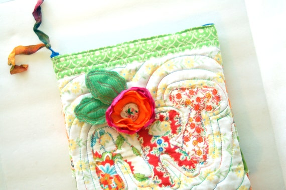 ART SUPPLIES  CLUTCH - Shabby Calicos & Silky Peonies