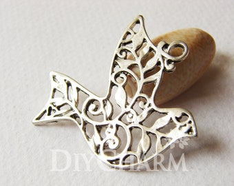 Antique Silver Filigree Pigeon With Branch Pattern Charms 31x37mm - 5Pcs - DF22624