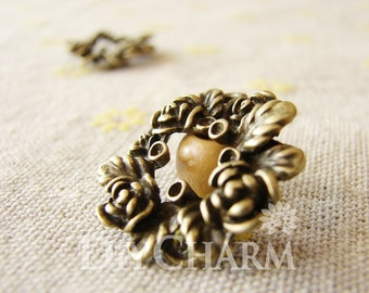 Antique Bronze Flower Ring With Vertical Aperture Charms 25x25mm - 10Pcs - DC25242