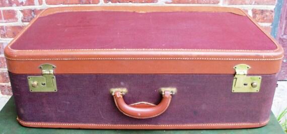 Vintage Oxblood Brown Leather Trim Weekend Suitcase with Key 1940s