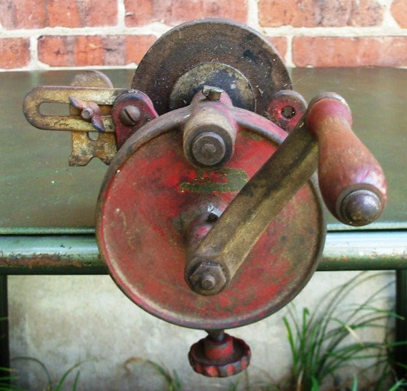 Vintage Hand Crank Bench Grinder Red Paint By