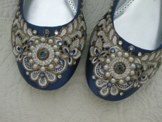 SAMPLE SALE - SIZE 10.5 - Wreath of Gold Bridal Ballet Flats French Blue Wedding Shoes