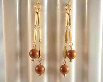 Handmade Vintage Mocha and Brass Chain Dangle Earrings