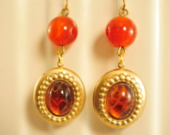 Handmade Vintage Carnelian Drop Earrings