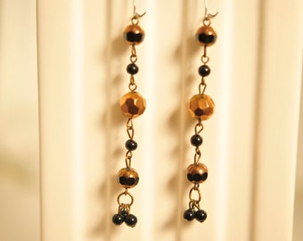 Sale Handmade Vintage Faceted Bronze and Black Drop Earrings