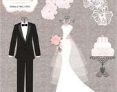 Luxury wedding dress & 2 Tuxedos - Personal Or Small Commercial Use (P037)