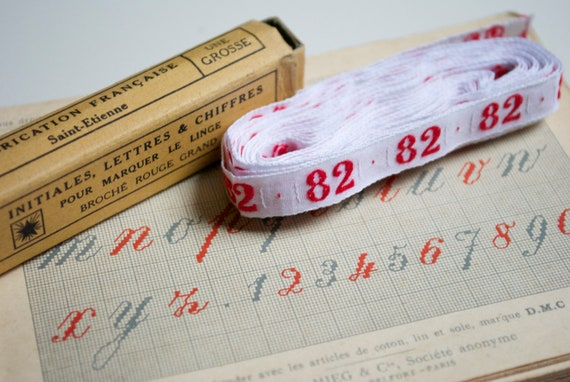 Vintage french embroidered ribbon - Number 82 - vintage laundry labels with box