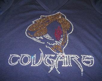 "Adult - ""Bling"" Cougars Rhinestone Shirt/Tank"