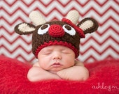 Crochet Reindeer Hat for all sizes, newborn to adult