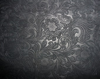 """OVERSTOCK Suede Leather 2 Pieces 3""""x11"""" Etched Black DAISY Floral No shine, Matte Cowhide #204 3.5 oz / 1.4 mm PeggySueAlso™"""