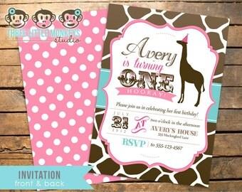 Vintage Giraffe Birthday Invitation PLUS Matching Thank You Note