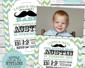 Vintage Little Man Mustache Birthday Party Decor Pack