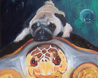 Pug Art Print of an original oil painting /Turtle/Ocean/Sea/ 8 x 10 / Dog Art