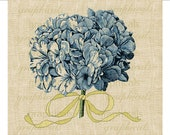 Vintage blue hydrangea instant digital download image Yellow gold ribbon flower for transfer to fabric pillows burlap towels cards No. 606