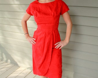 1960s red Asian style cocktail dress by M. Nadler. Size small xs 0-2