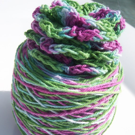 Crochet Cotton - Hand Dyed -  Size 10 - The Frog Princess - Large Project Size - 150, 200, 250 or 300 Yards - HDT