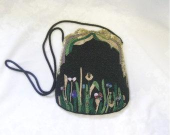 Black Beaded Bag with Flowers - Formal and Elegant - Vintage