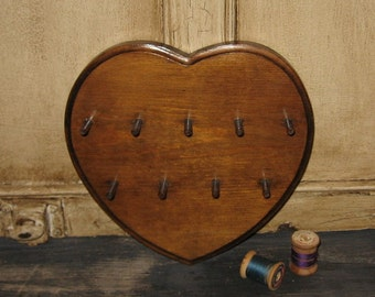 Vintage Wood HEART Thread Spool Holder-Sewing Room Decor*Mother's Day Gift