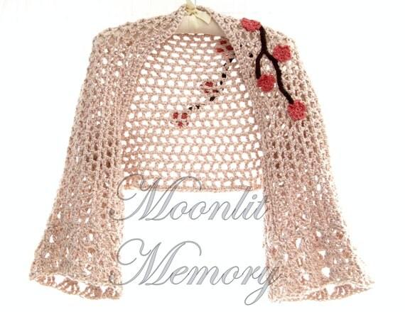 Hand Crocheted Shrug, Crochet Bolero, size L-XL, Crochet Cardigan, Bell Sleeves, Tan & Pink, in stock