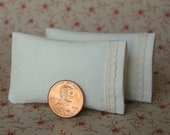 Dollhouse Miniature Pillows Set of 2 Ecru Bed Pillows with delicate lace detail - 1:12 scale