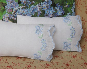 Dollhouse Miniature Set of 2 White Bed Pillows with Forget-Me-Not Embroidery- 1:12 scale