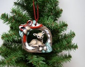 Ornament, ceramic ornament, grapevine wreath with deer, Christmas ornament