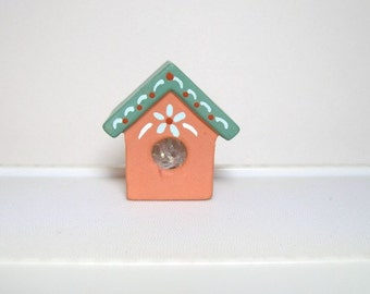 Birdhouse, miniature ceramic birdhouse