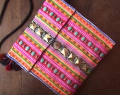 Hippie embroidery cross body purse // tribal // slouch bag // colorful // compact size // flower // cross stitch //  pastel
