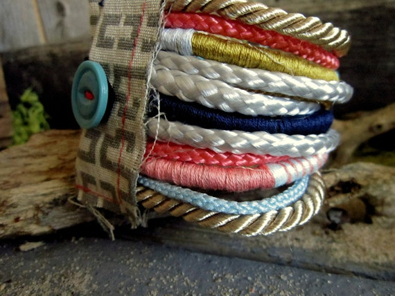Material Girl-Fiber, Cord, and Scrap Tapestry Cuff Bracelet-Sand & Surf