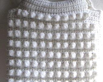 Vintage Crocheted White Purse/Handbag. Retro Handbag