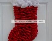 Metallic Red & White Christmas Mesh  Stocking Wreath