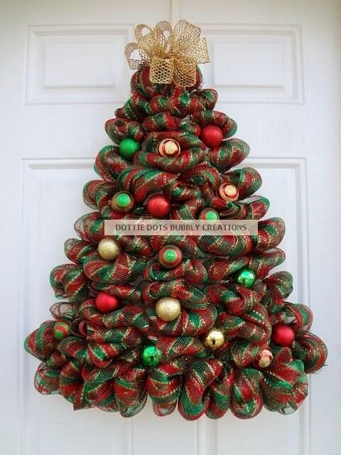Striped Metallic Mesh Door Wall Lighted Christmas Tree Wreath