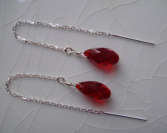 Free Shipping - Swarovski Crystal Briolette Drop Earrings Siam Red and Sterling Silver Threader/Ear Thread Earrings