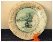 Stoneware Plate - Country Church Landscape - Trees, Mountains, Hand Drawn Design