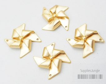P348-02-MG// Matte Gold Plated Windmill Connector, 4Pc