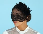 Elegant LACE VEIL w/ Black Feather Hair Piece Mourning Party Birdcage