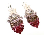 Lace Earrings in Burgundy Red Brown and Tan Ombre