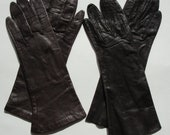 """Two Pair Vintage Womens Brown  Leather Gloves Silk Lining Size 7 1/2"""""""