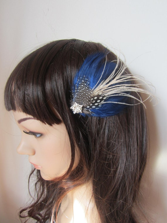 Electric Blue feather Barrette fascinator hair clip