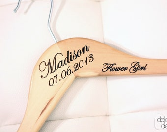 1 - Personalized Bridal Wedding Hanger for Flower Girl with Arm Inscription - Engraved Wood