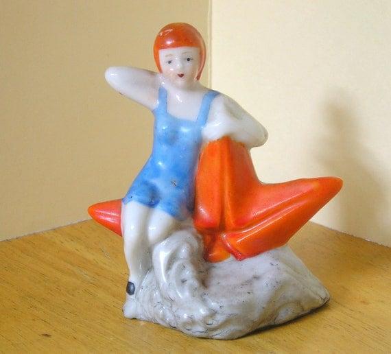 Reserved for Kee vintage Flapper lady bathing beauty starfish porcelain aquarium figurine decor ornament Japan 50's