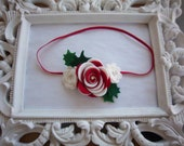 Christmas Headband-Red and White Candy Cane Felt Rosette Holiday Newborn Photo Prop Toddler