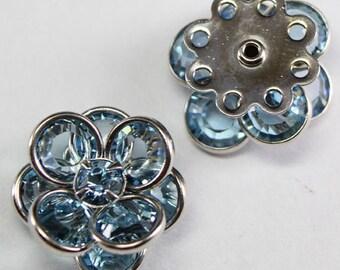 Swarovski Crystal 60478 Flower Filigree Finding  with 8 holes - Silver metal, Aquamarine 14mm