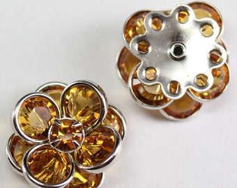 Swarovski Crystal 60478 Flower Filigree Finding  with 8 holes - Silver metal, Topaz 14mm